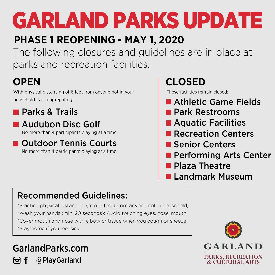 Parks Phase 1 Reopening Update - open parks, trails, disc golf, tennis courts. All others closed