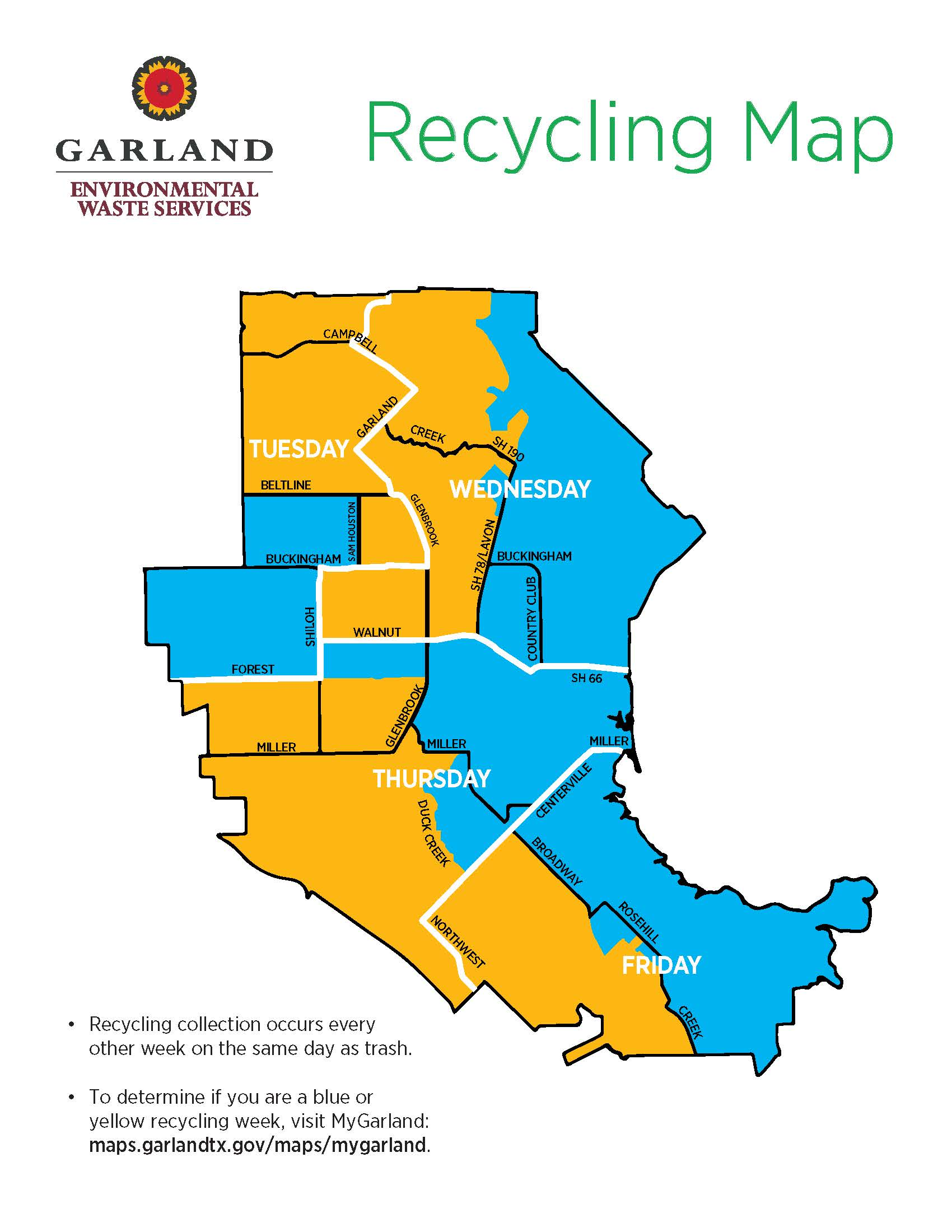 Garland recycling collection map with blue and yellow week zones.