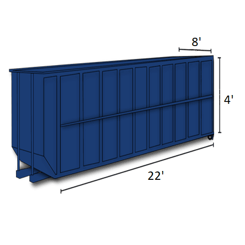 Picture of 20-cubic-yard open-top dumpster with dimensions